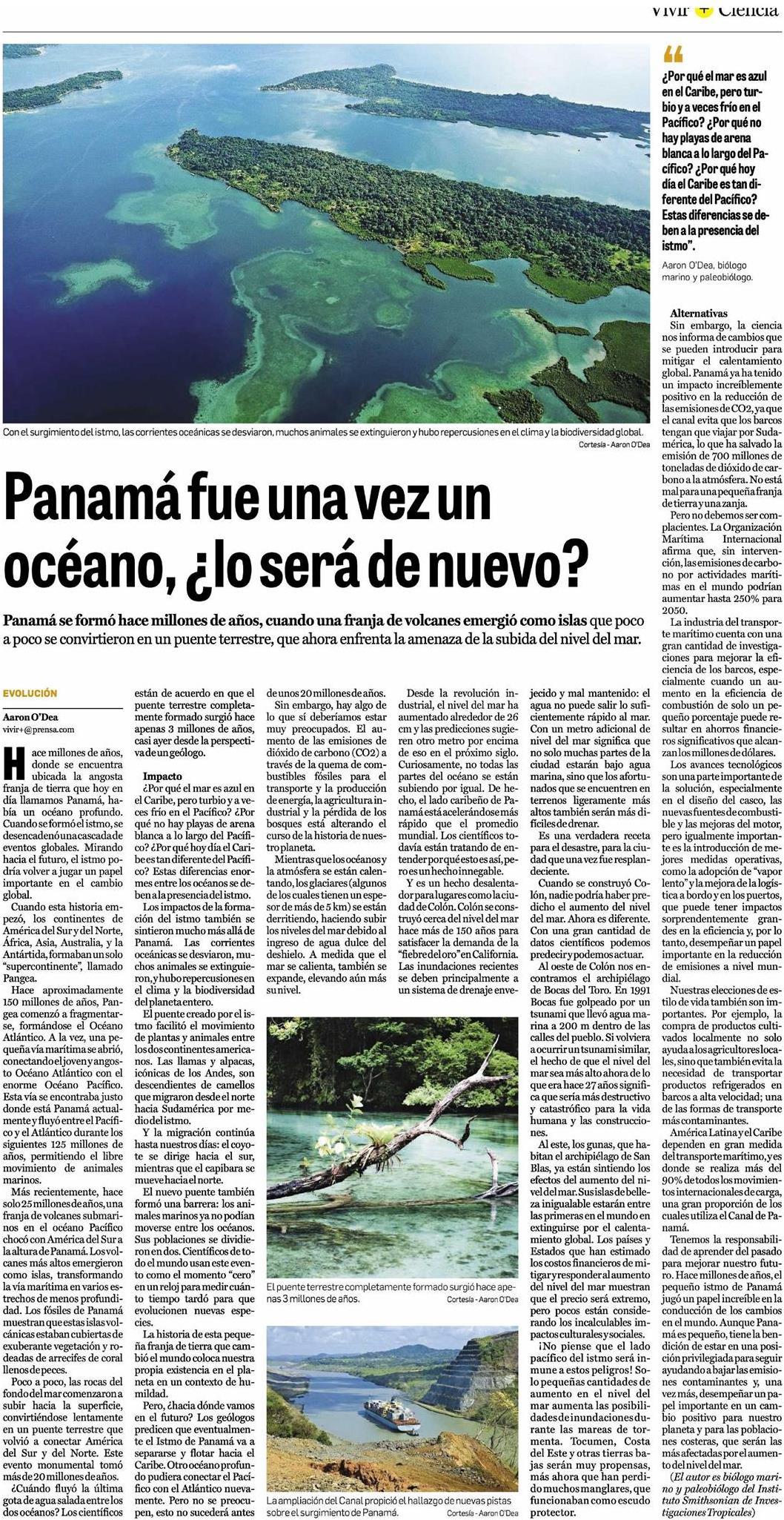 O'Dea 2018 Panama era Mar 17 December La Prensa